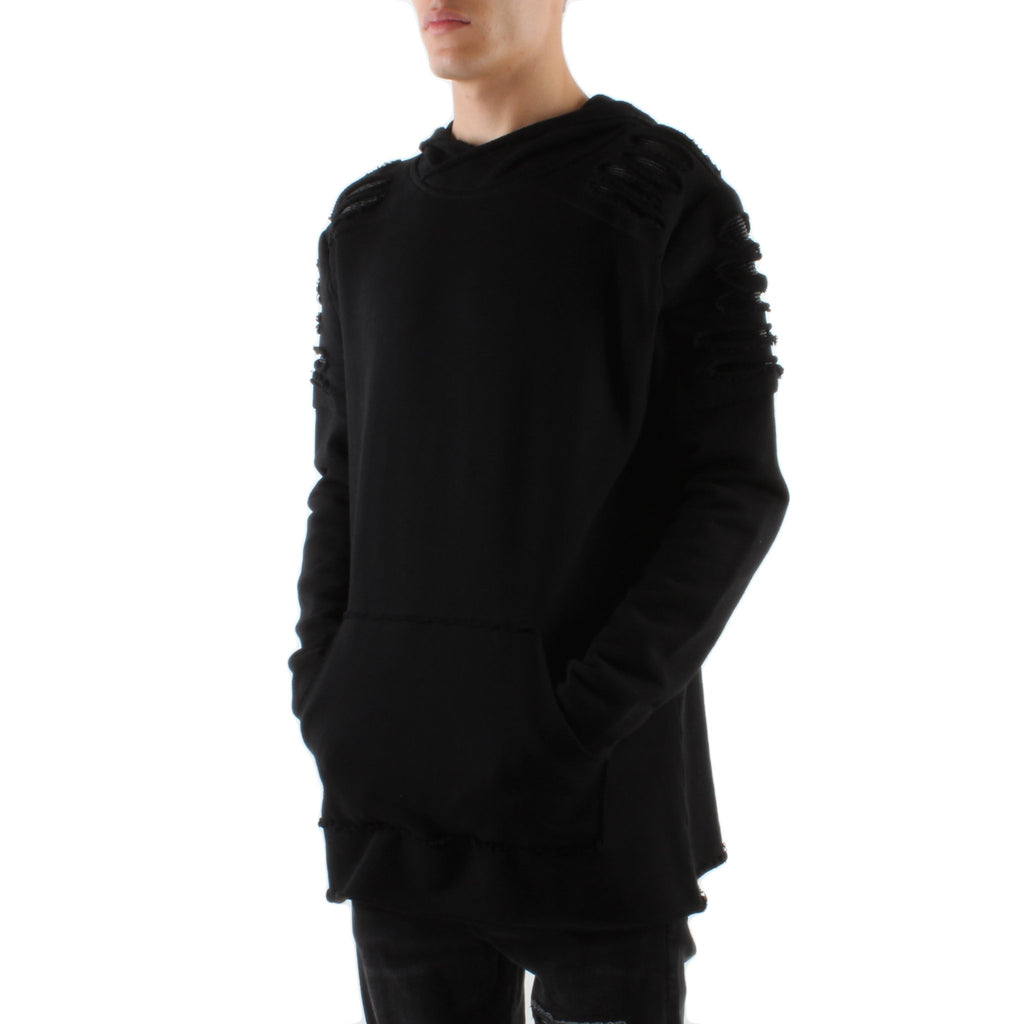 BLACK DESTROYED PATCH FRENCH TERRY HOODIE - Standard Issue NYC