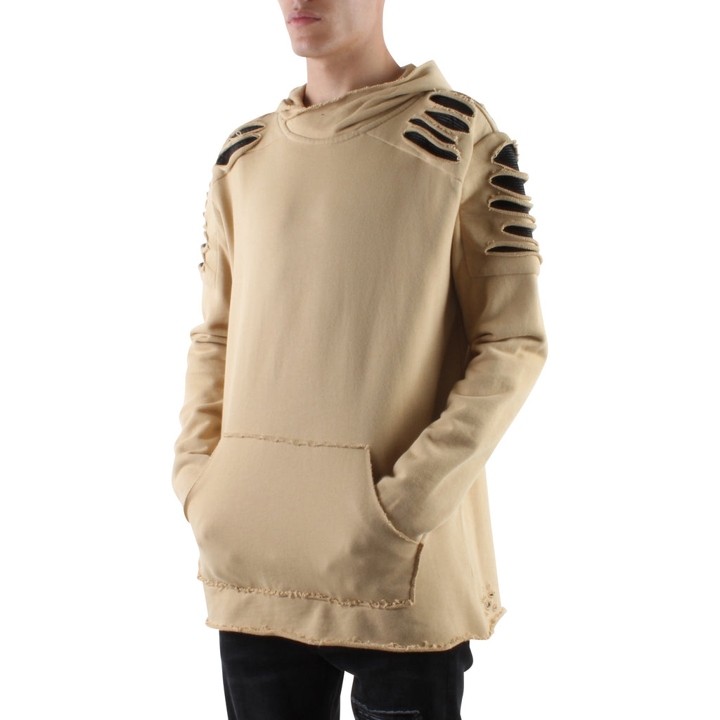 KHAKI DESTROYED PATCH FRENCH TERRY HOODIE - Standard Issue NYC