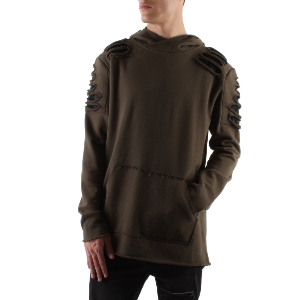 MILITARY GREEN DESTROYED PATCH FRENCH TERRY HOODIE - Standard Issue NYC