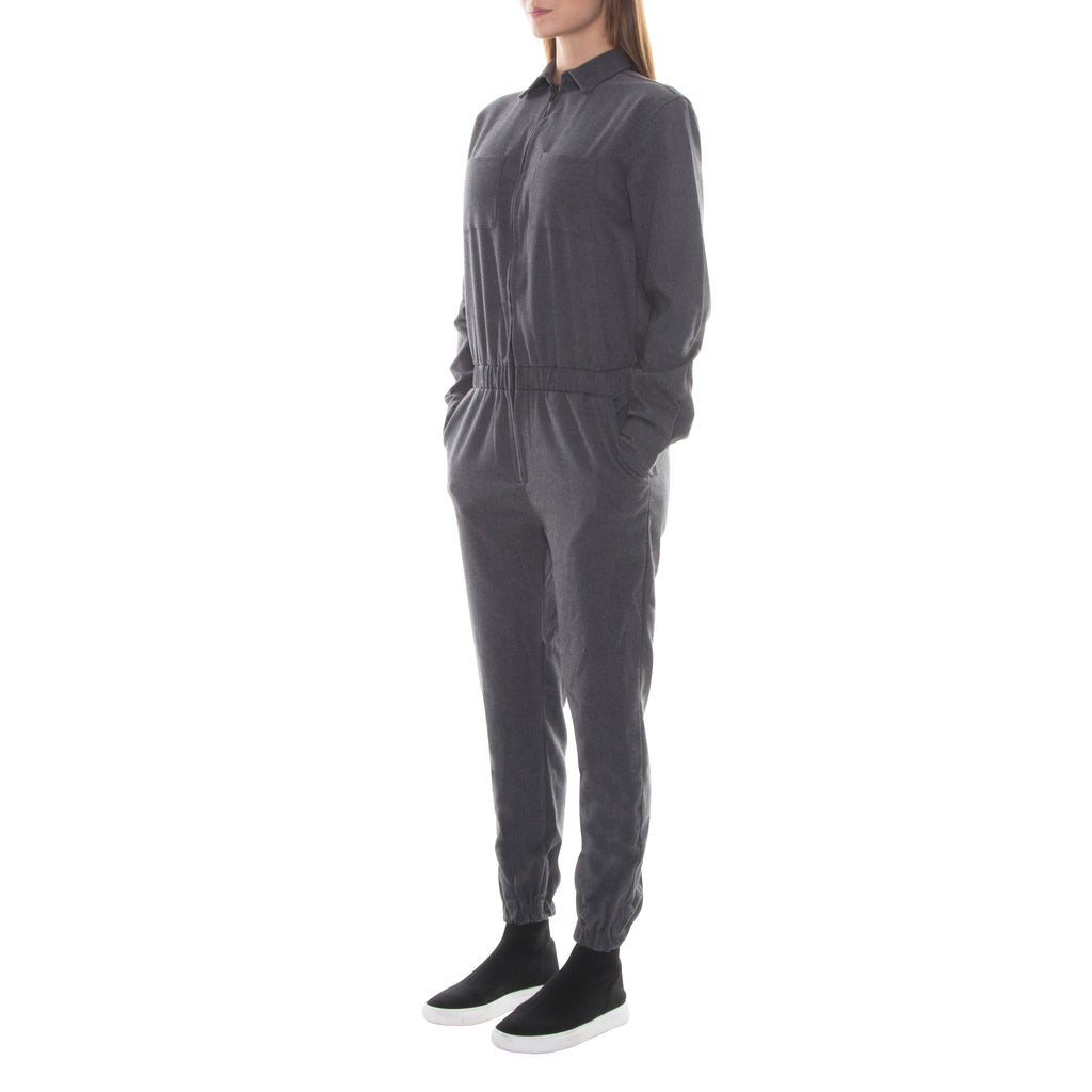 FULL ZIP CHARCOAL GREY WOOL JUMPSUIT - Standard Issue NYC