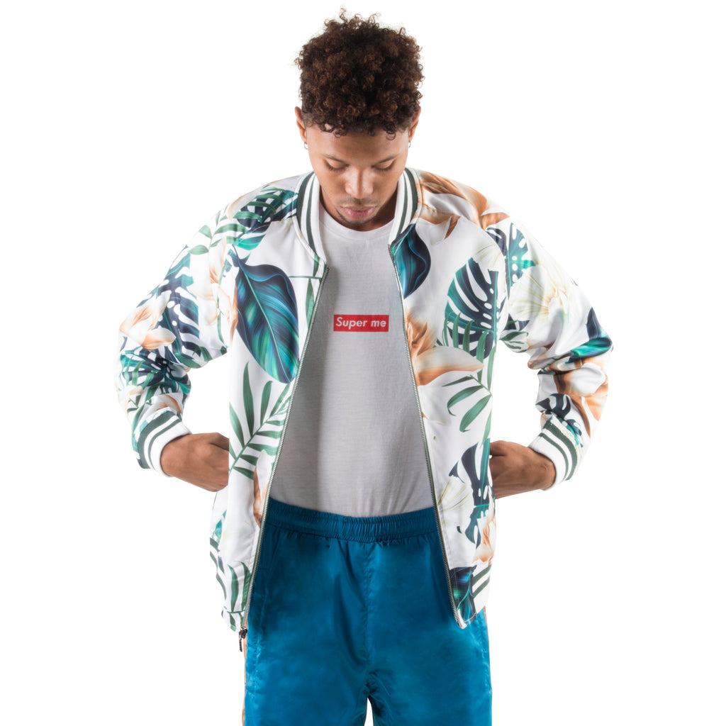 WHITE/GREEN LIGHT BOMBER JACKET - Standard Issue NYC