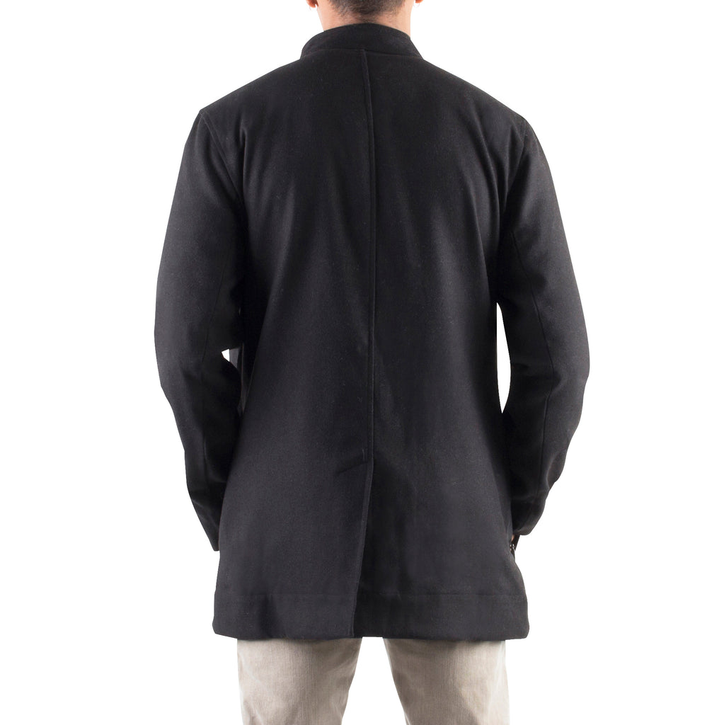 BLACK WOOL JACKET WITH NYLON QUILTING - Standard Issue NYC