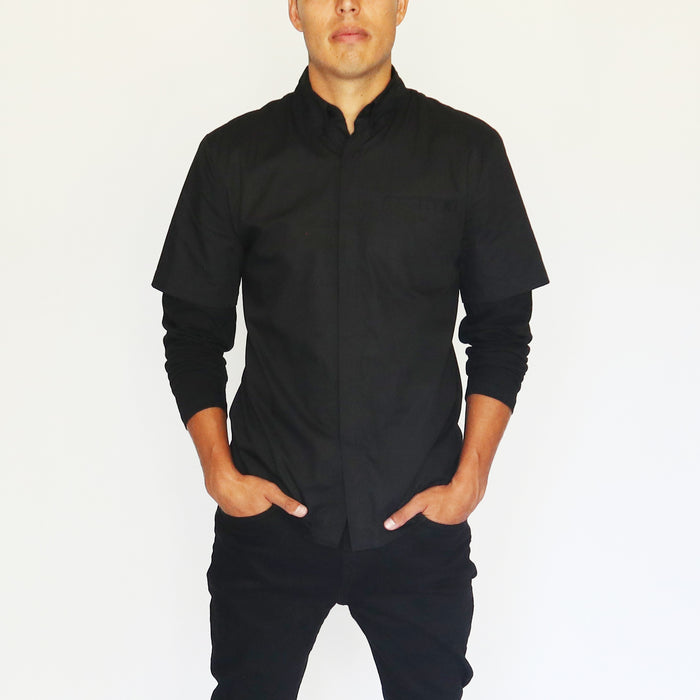 CLASSIC SHORT BUTTON UP - BLACK
