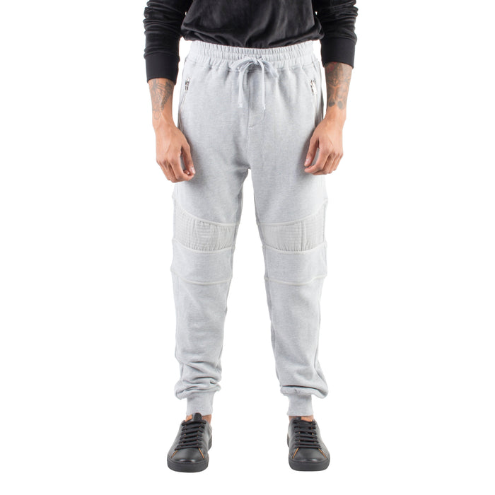 RELAXED MOTO JOGGERS - LIGHT GREY