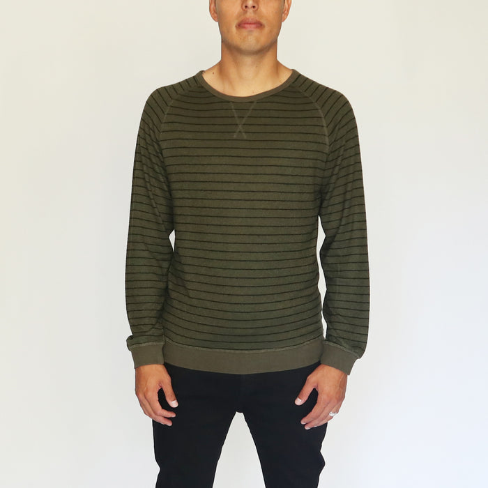 STRIPED LONG SLEEVE SHIRT - MILITARY GREEN