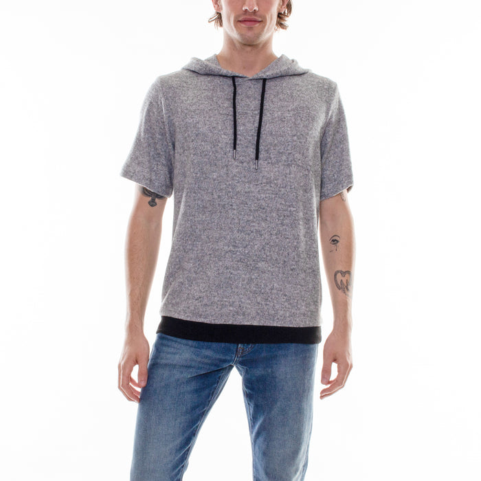 HACCI SHORT SLEEVE HOODIE - GREY/BLACK - Standard Issue NYC
