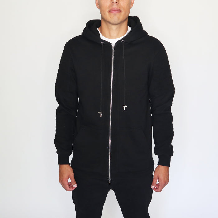 EVERYDAY HOODIE WITH FLEECE PANELS - BLACK