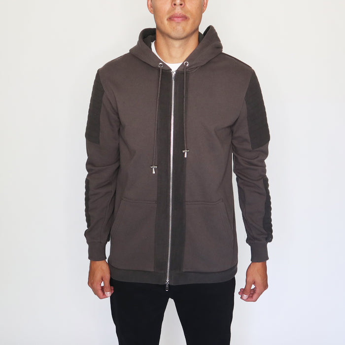 EVERYDAY HOODIE WITH FLEECE PANELS - CHARCOAL