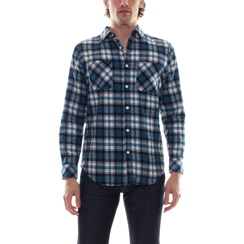 FLANNEL SHIRT - NAVY/ORANGE - Standard Issue NYC