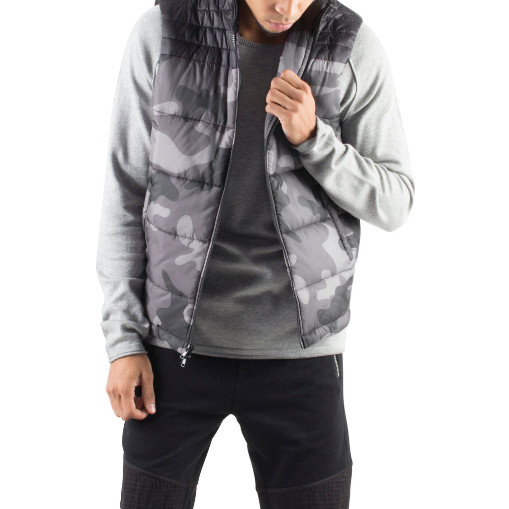 CAMO PUFFER VEST - BLACK - Standard Issue NYC