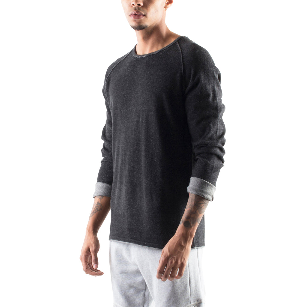 ROLLED EDGE RAGLAN SWEATER - BLACK - Standard Issue NYC