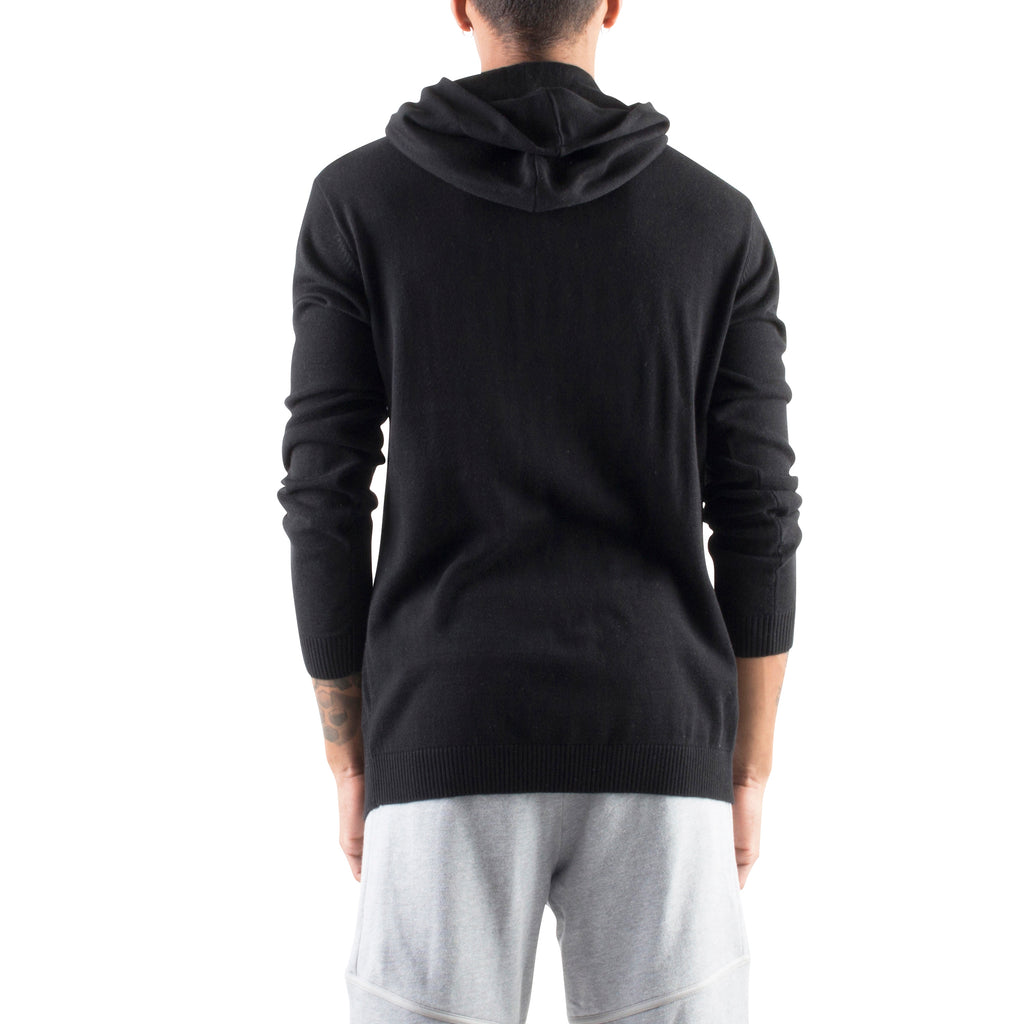 KNITTED CROSSOVER HOODIE - BLACK - Standard Issue NYC