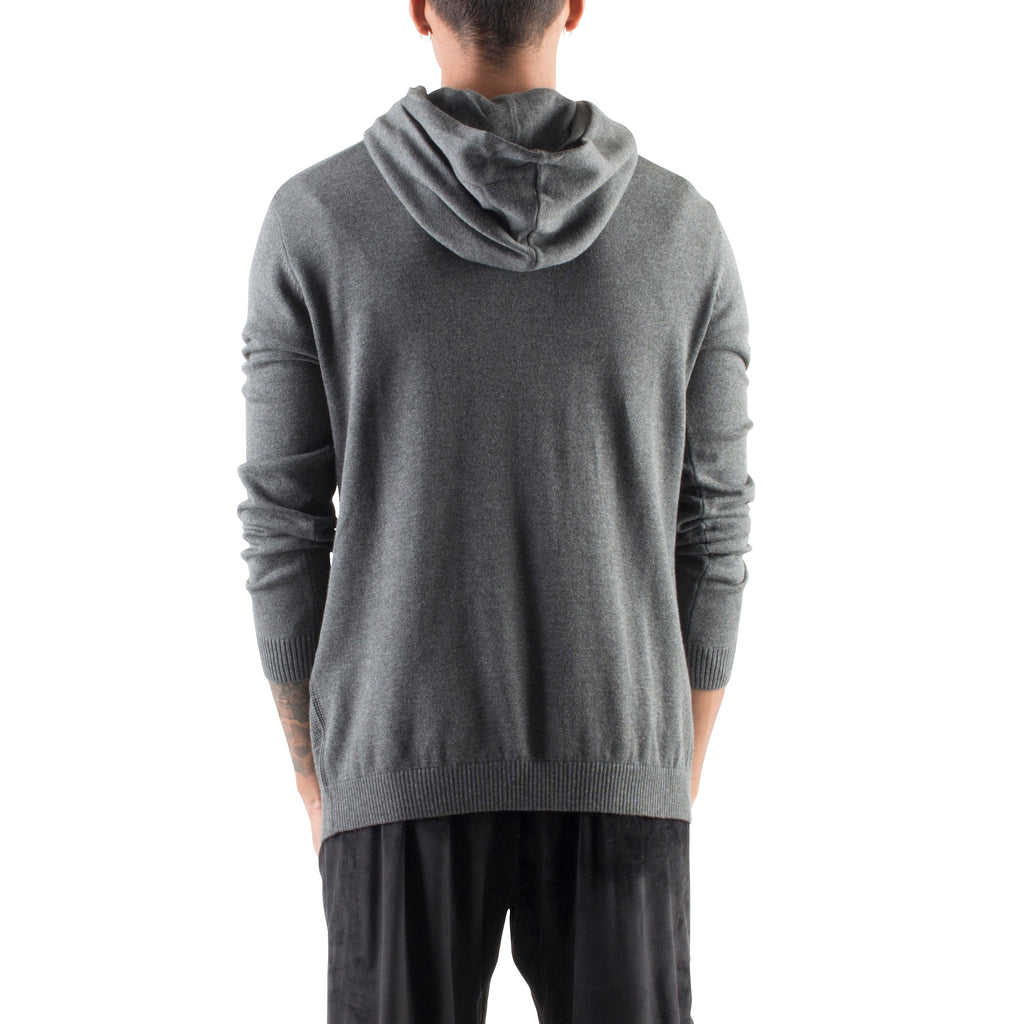 KNITTED CROSSOVER HOODIE - CHARCOAL - Standard Issue NYC