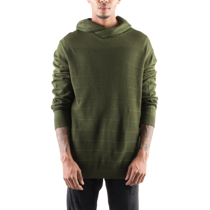 KNITTED CROSSOVER HOODIE - GREEN - Standard Issue NYC