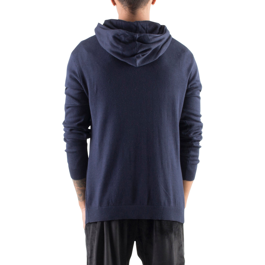 KNITTED CROSSOVER HOODIE - NAVY - Standard Issue NYC