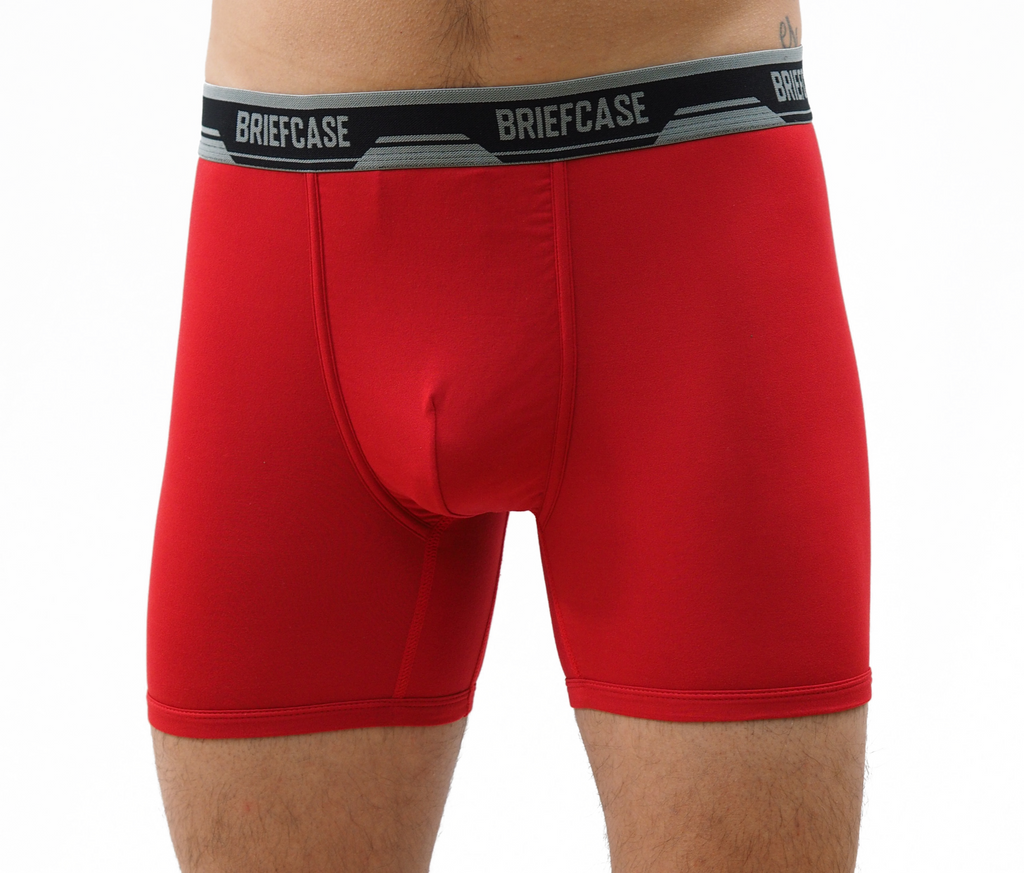 BRIEFCASE Men's Single Boxer Briefs w/ Internal Pouch - Red