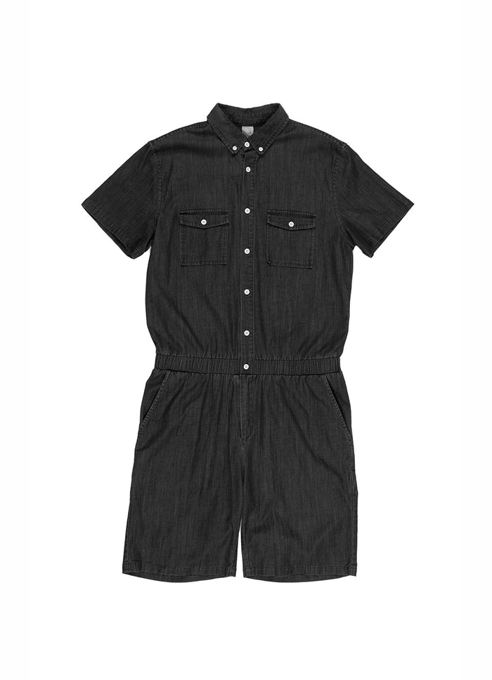 CHAMBRAY ROMPER SHORTS BLACK - Standard Issue NYC