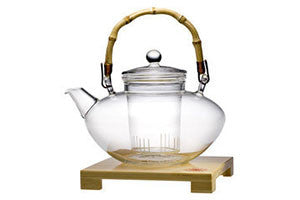Bamboo and  Glass Teapot