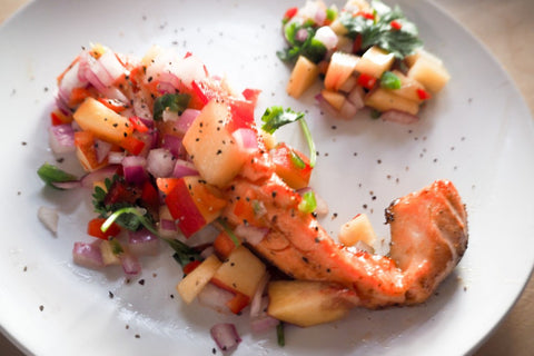 KING SALMON WITH PEACH SALSA RECIPE