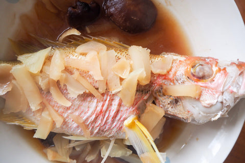 Steamed brown striped snapper teochew style