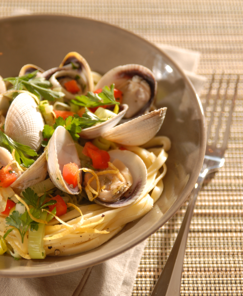 littleneck clams pasta dish the fish westhaven new zealand cockles