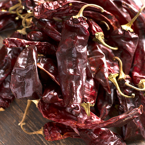 Shed red chile pods