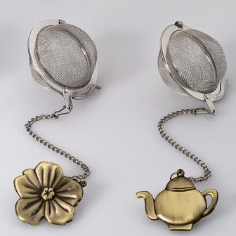 Teaball with Bronzed Charm - Flower + Teapot