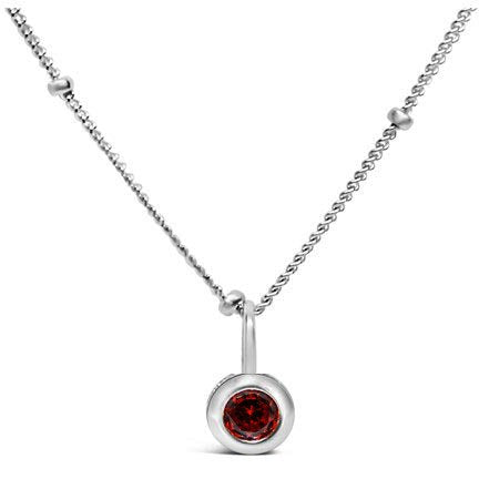 Stia Garnet CZ Birthstone Sterling Silver Necklace