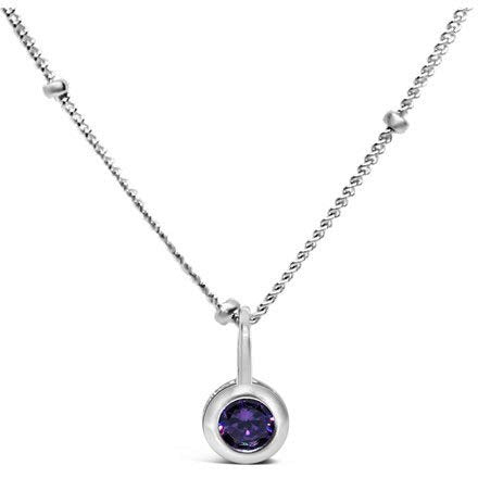 Stia Amethyst CZ Birthstone Sterling Silver Necklace