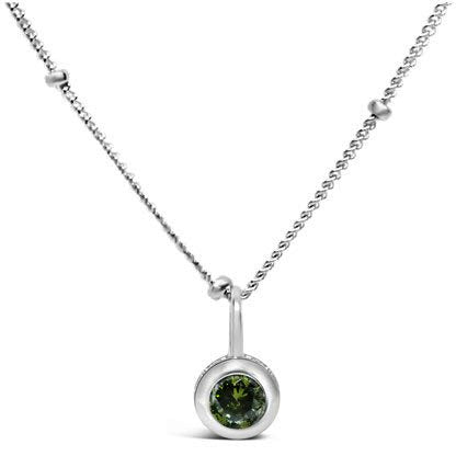 Stia Peridot CZ Birthstone Sterling Silver Necklace