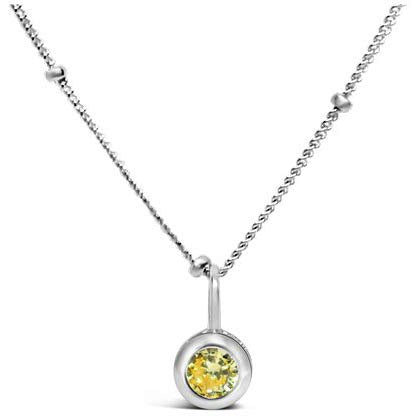 Stia Citrine CZ Birthstone Sterling Silver Necklace