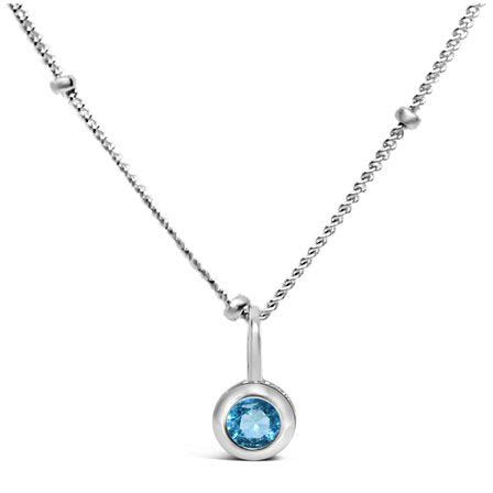 Stia Aquamarine CZ Birthstone Sterling Silver Necklace