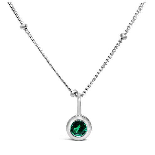 Stia Emerald CZ Birthstone Sterling Silver Necklace
