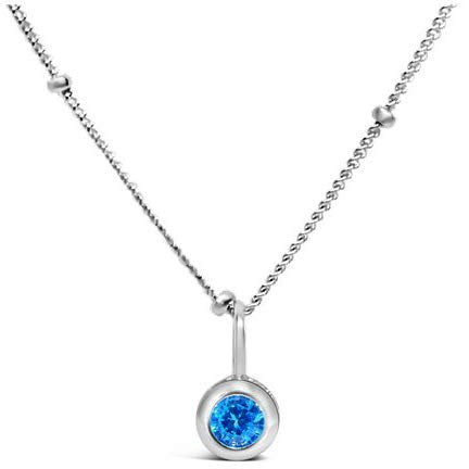 Stia Zircon CZ Birthstone Sterling Silver Necklace
