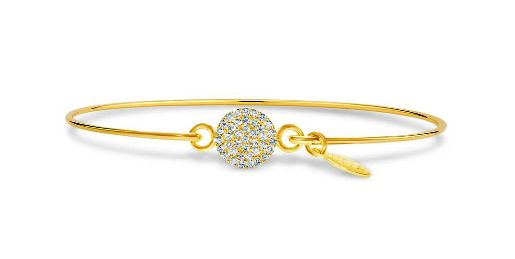 Stia Pave Icon Gold Plated Disk Bracelet