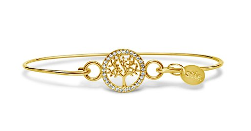 Stia Pave Icon Gold Plated Tree of Life Bracelet