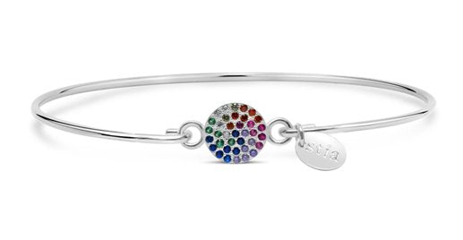 Stia Pave Icon Sterling Silver Rainbow Disk Bracelet