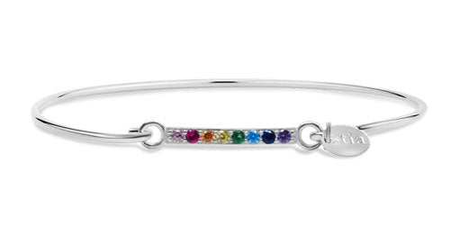 Stia Pave Icon Sterling Silver Rainbow Bar Bracelet