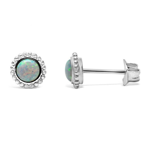 Stia Synthetic White Opal Mini-Mini Stud Earrings in Sterling Silver