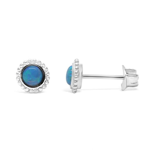 Stia Synthetic Blue Opal Mini-Mini Stud Earrings in Sterling Silver