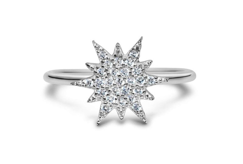Stia It Fits Pave Icon Sterling Silver Starburst Ring