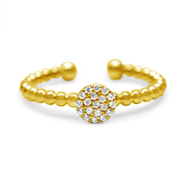 It Fits! Pavé Disk Droplet Wire Ring in Gold-Plated Sterling with Cubic Zirconias