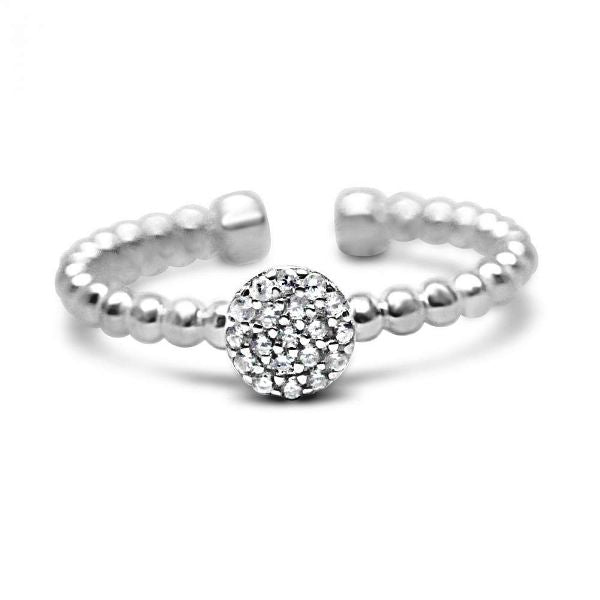 Stia It Fits! Pavé Disk Droplet Wire Ring in Sterling Silver with Cubic Zirconias