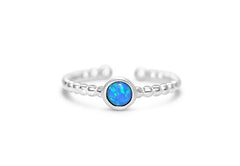 Stia It Fits Blue Opal Bezel Droplet Wire Ring