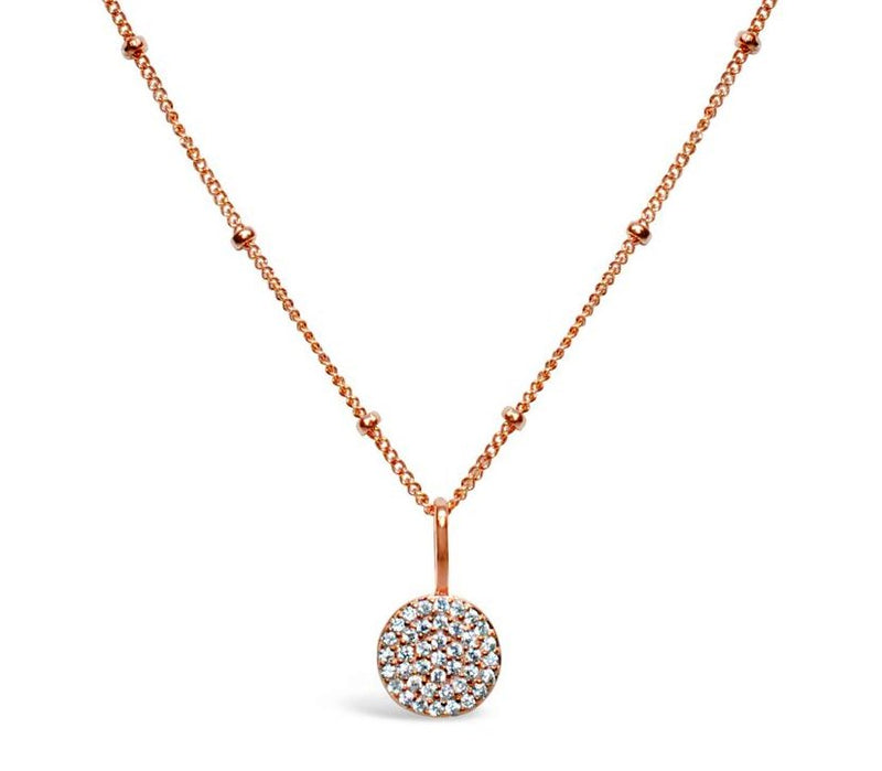Stia Pave Icon Rose Gold Plated Disk Necklace