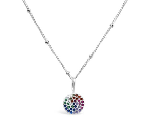 Stia Pave Icon Sterling Silver Rainbow Disk Necklace