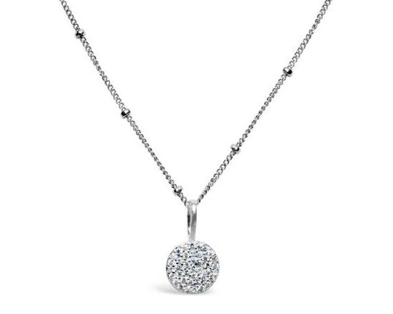 Stia Pave Icon Sterling Silver Disk Necklace