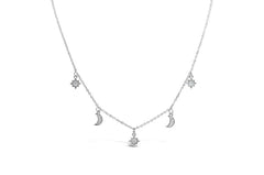Stia Sterling Silver and CZ Dazzling Dangle Moon and Star Necklace