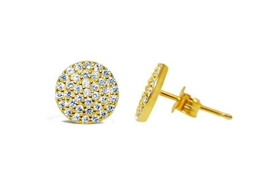 Stia Pave Icon Gold Plated Disk Post Earrings