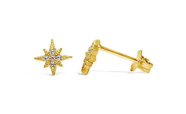 Stia Pave Starburst Gold Plated Post Earrings